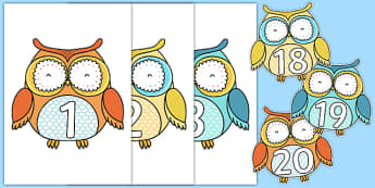 1-20 on Cute Owls - 1-20, cute owls, cute, owls, display, numbers, 1, 20