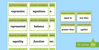 CfE Second Level Numeracy and Mathematics Expressions and Equations Keyword Flashcards-Scottish - Wall Display, keywords, MNU 2-15a, language of maths, vocabulary, word wall,Scottish
