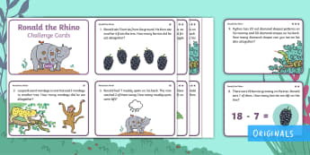 Ronald the Rhino Addition and Subtraction Differentiated Math Challenge Cards - Twinkl fiction, Solve, Word Problem, Inverse, Javan Forest, Total, add, adding, take away, maths, ks