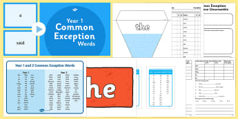 Year One Common Exception Words Resource Pack - Common exception words, tricky words, phonics, year 1