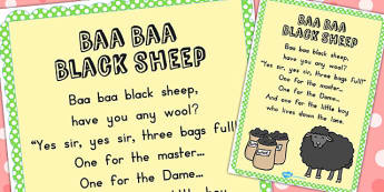 Baa Baa Black Sheep Nursery Rhyme Poster - display, nursery