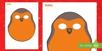 Robin Role-Play Mask - imaginative play, Character, Understanding, Play, Fun, Bird Mask, Christmas Bird