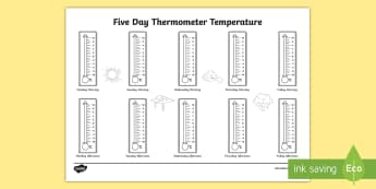 Five Day Thermometer Temperature Celsius Activity Sheet - Five Day Thermometer Temperature Celsius Activity Sheet - weather, days, week, record, graph, UK, Br