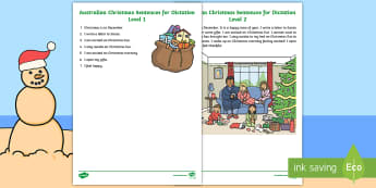 Christmas Dictation Test - Australian Christmas, grammar, punctuation, December, vocabulary, celebration
