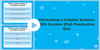 Punctuating a Complex Sentence With Commas Language Conventions Punctuation PowerPoint Quiz