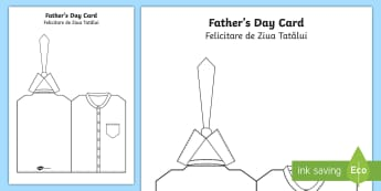 Father's Day Shirt And Tie Cut and Colour Craft Card English/Romanian - Fathers Day Shirt And Tie Card - card template, fathers day card, tempelte, templet,eal