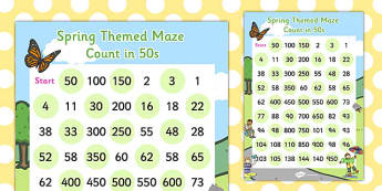 Counting in 50s Maze Activity Sheet - counting, activity, sheet, worksheet