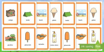 Immagini estive memory Gioco da Tavola - gioco, da, tavola, memory, estate, estivo, carte, materiale, scolastico, italiano, italian, elementa