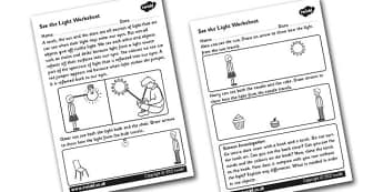 See The Light Worksheet - light, light and dark, night and day