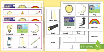 Light and Dark Matching Cards Game - EYFS, Early Years, Light and Dark, KS1, Understanding the World, Science, sun, light, dark, shadows,