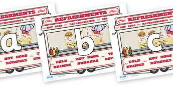 Phoneme Set on Fairground Food Vans - Phoneme set, phonemes, phoneme, Letters and Sounds, DfES, display, Phase 1, Phase 2, Phase 3, Phase 5, Foundation, Literacy