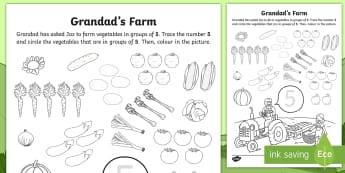 Grandad's Farm Number 5 Vegetable Picking Worksheet / Activity Sheet -  ROI, on the Farm, farm animals, number recognition, five, Aistear, Story, Maths, Worksheet / Activity Sheet, Nu