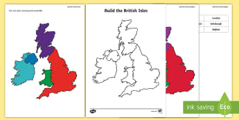 Build The United Kingdom Activity Sheet - Britain, Wales, England, Ireland, Scotland, map, jigsaw map, worksheet, scottish, activity sheet