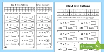 Algebra - Patterns - Odd and Even Activity Sheet - Algebra, Patterns, Odd, Even, Number,Irish, Worksheet