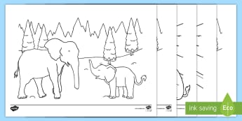 Elephants in the Snow Colouring Pages - Key Stage One, KS1, EYFS, Elmer in the Snow, Fun, Ice, Winter, Season, Colours, Activity, Mindfulnes