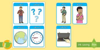 A2 Tarjetas educativas: Preguntas en inglés - question, lengua extranjera, inglés, english, vocabulary, vocabulario,Spanish-translation