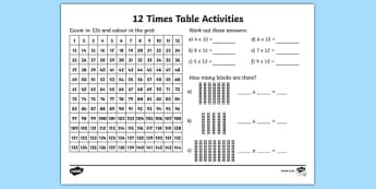 12 Times Table Activity Sheet - 12, times table, multiplication, multiply, 12 times table, maths, numeracy, worksheet, times tables