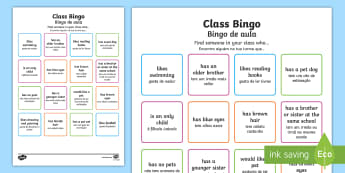 Class Welcome Transition Bingo English/Portuguese - Class Welcome Transition Bingo Board - bingo, bingo board, class welcome, class welcome bingo board,