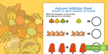 Autumn Addition Sheet English/Romanian - Autumn Addition Sheet - autumn, addition sheet, addition, maths, numeracy, adding, seasons, addition