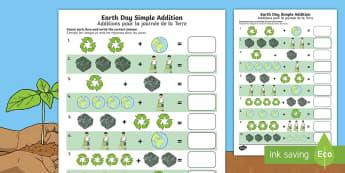Earth Day Simple Addition Activity Sheet English/French - Earth Day, simple addition, Pre-K adding, Kindergarten adding, worksheet, addition skills , adding,
