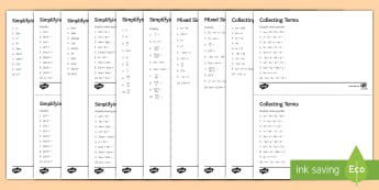 Simplifying Algebraic Expressions Activity Sheets - algebra, like terms, indices, simplify, algebraic manipulation, multiply, worksheet, worksheets, div