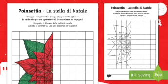 Poinsettia Activity Sheet English/Italian - christmas, flower, tradition, traditional, mexico, maths, symmetry, reflection, worksheet, EAL