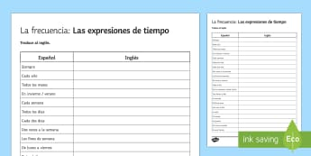 Time Expressions Worksheet / Activity Sheet Spanish