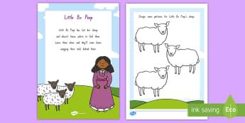 Little Bo Peep Worksheet / Activity Sheet - NZ Literacy Resources, Year 1-3, nursery rhymes, New Zealand, activity, activities, worksheet, readi