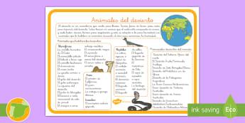 Hoja informativa: Hábitats - Los animales del desierto - animales, clasificación, hábitats, donde viven, desierto
