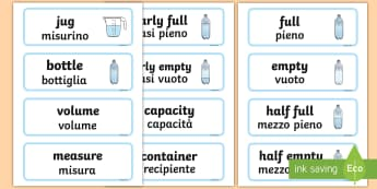 Capacity Word Cards Italian/English - Capacity word cards, word card, cards, capacity, volume, litre, full, empy, half full, measure, jug,