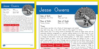 USA Olympians Jesse Owens Fact File