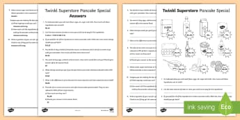 Twinkl Superstore Pancake Special Worksheet / Activity Sheet - money, pancakes, word problems, rands, cents, South African money, baking, money problems,  real life problems