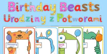 Birthday Beasts Display Pack Polish Translation - sign, label, display, birthday, month, monster, beast, creatures