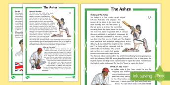 The Ashes Fact File - Cricket, australian sport, sport, reading, comprehension,Australia