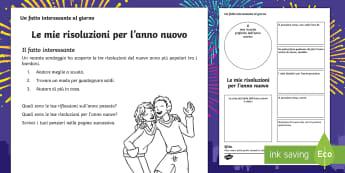 Le risoluzioni per l'anno nuovo Attività - anno, nuovo, caqpodanno, fioretto, italiano, italian, materiale, scolastico