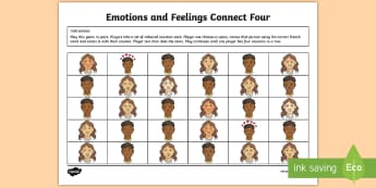 Emotions and Feelings Four in a Row Game French - French Games, french emotions, connect four games, pair games, french pair games, french feelings,Sc