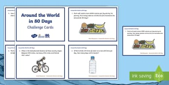 UKS2 Around the World in 80 Days Maths Challenge Cards - The World Challenge, around the world in 80 days, mark beaumont, cycling, maths, problem solving, re
