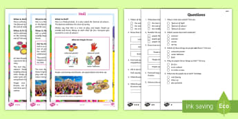 KS1 Holi Differentiated Reading Comprehension Activity - holi, hindu, hinduism, RE, festival of colours, celebration, different cultures, Celebrations around