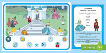 Cinderella Can You Find...? Poster and Prompt Card Pack - fairytale, fairy tale, fairytale, disney, ugly sister, fairy godmother, prince charming