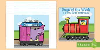Days of the Week on A4 Trains English/Italian - A set of A4 days of the week on a train and carriages. Great for display purposes, can be used every