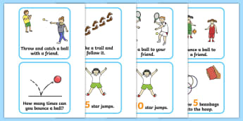 Outdoor Activity Cards - Outdoor activity, outdoor games, outdoor cards, outdoor classroom, outdoor learning, ball game, PE, exercise, star jumps, outdoor equipment, bean bag, hoop, ball