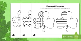 Shamrock Symmetry Worksheet / Activity Sheets - worksheets, st patrick's day, saint patrick, clover