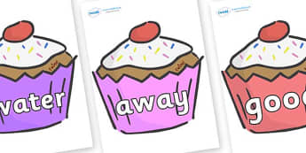 Next 200 Common Words on Cupcakes - Next 200 Common Words on  - DfES Letters and Sounds, Letters and Sounds, Letters and sounds words, Common words, 200 common words