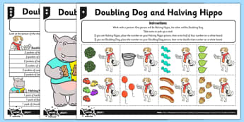 Differentiated Doubling and Halving Activity Sheet - doubling, halving, activity, worksheet