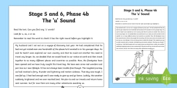 Northern Ireland Linguistic Phonics Stage 5 and 6, Phase 4b, 'u' Sound Text Activity Sheet - NI, Linguistic Phonics, Stage 5, Stage 6, Phase 4b, Northern Ireland, Worksheet, 'u' sound, soun