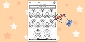 CVC Word Wheel Worksheets i - CVC words, word wheel, visual aid