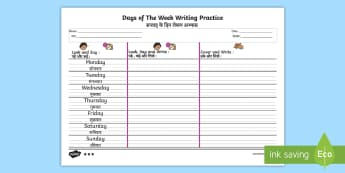 Days of The Week Writing Worksheet / Activity Sheet English / Hindi - Days of the Week Writing Practice Worksheet - practice, writing, days of the wek, days pf the week,