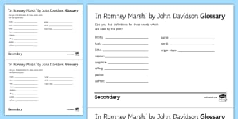 'In Romney Marsh' by John Davidson Glossary Activity - GCSE English Literature, Time and Place Cluster, Edexcel Poetry, Poetry Exploration, Exam Practice,