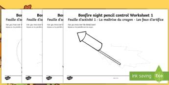 Bonfire Night Pencil Control Activity Sheets English/French -  pencil control, worksheet, worksheets, Bonfire, Fireworks Night, EAL French