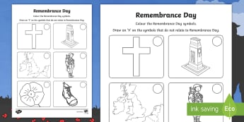 Remembrance Day Symbols Colouring Page - colouring, remembrance, remembrance day, symbols, veteran, poppy, memorial